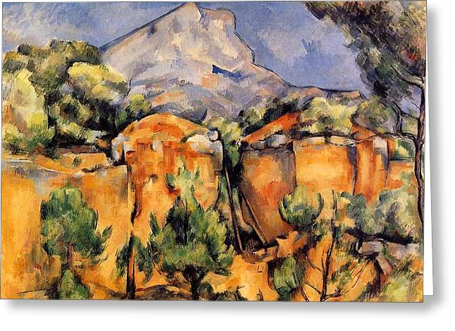 Mont Sainte-victoire Seen From The Bibemus Quarry Greeting Card by Paul Cezanne
