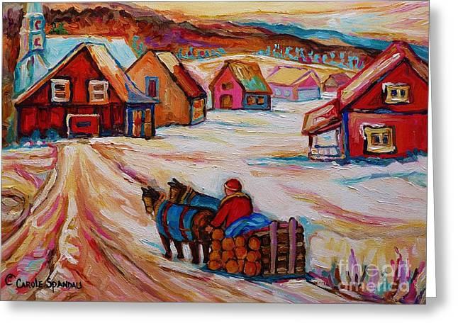 Mont St.hilaire Winter Scene Logger Heading Home To Quebec Village Winter Landscape Carole Spandau Greeting Card