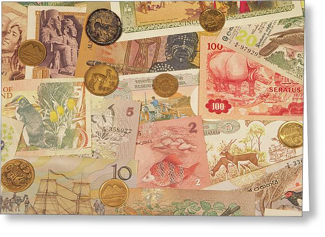 Montage Of Coins And Paper Money Greeting Card by Jaynes Gallery