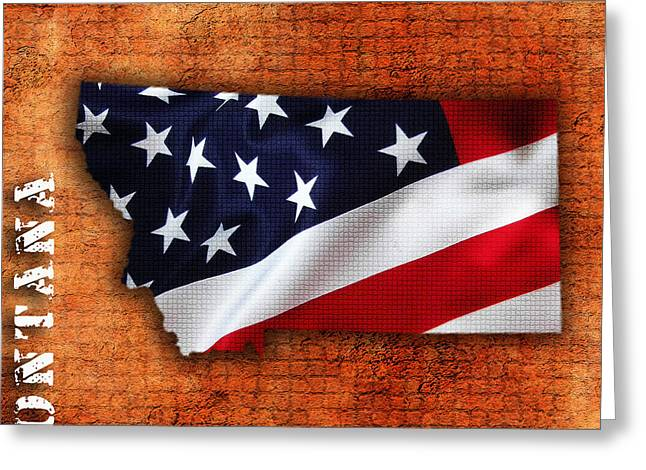 Montana American Flag State Map Greeting Card