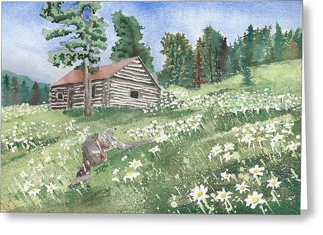 Montana Cabin Greeting Card by Tammy Crawford