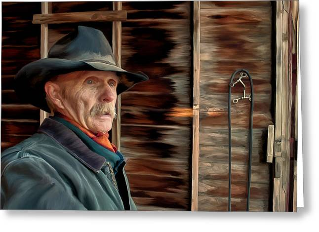 Greeting Card featuring the painting Montana Cowboy by Michael Pickett