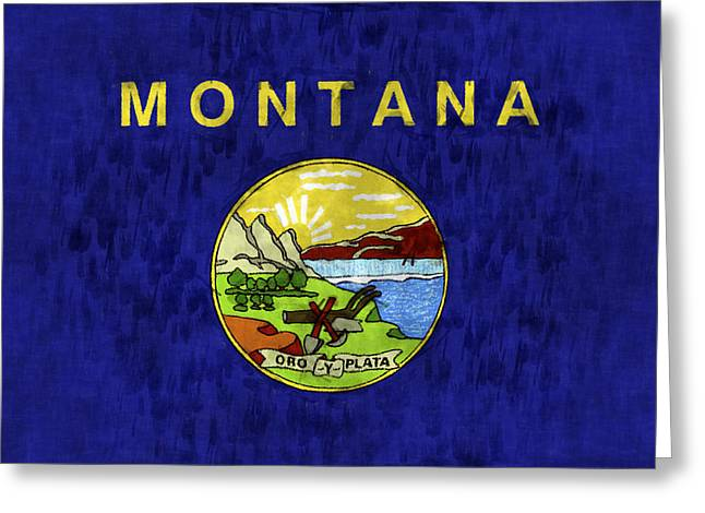Montana Flag Greeting Card by World Art Prints And Designs