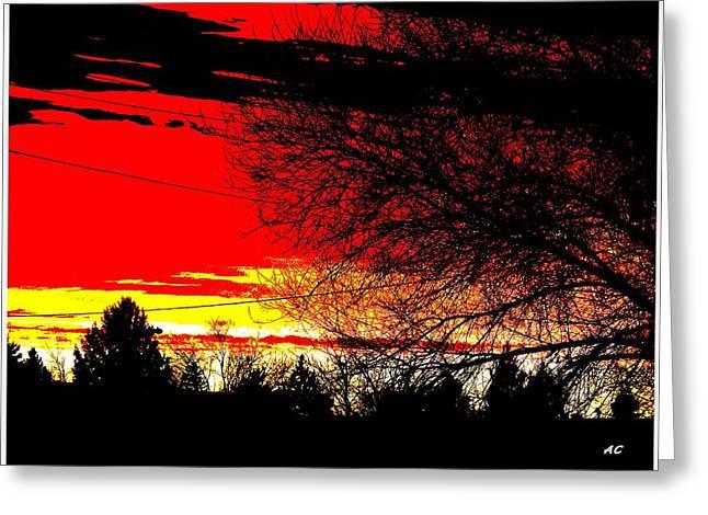 Greeting Card featuring the digital art Montana January Sunset by Aliceann Carlton