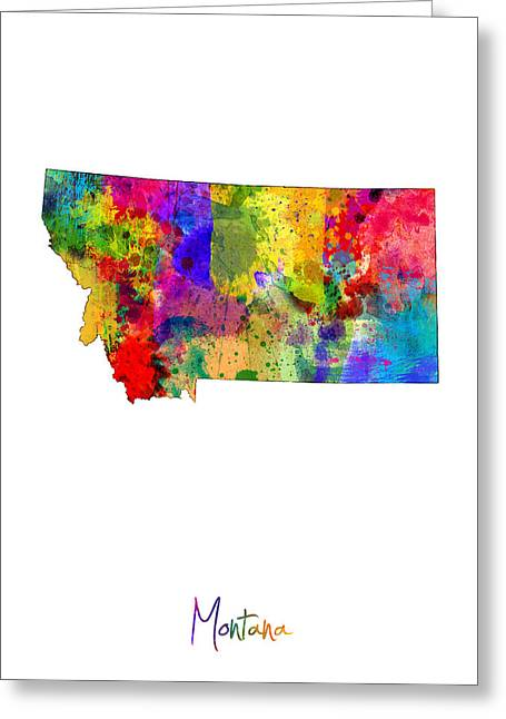 Montana Map Greeting Card by Michael Tompsett