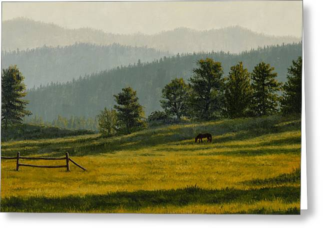 Montana Morning Greeting Card by Crista Forest