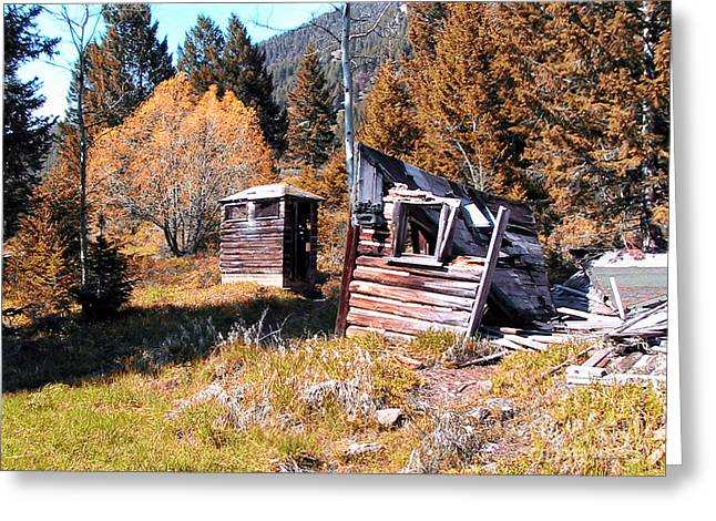 Montana Outhouse 01 Greeting Card by Thomas Woolworth