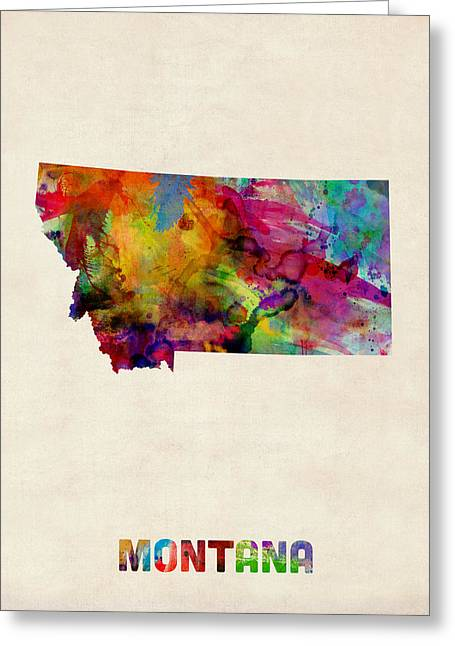Montana Watercolor Map Greeting Card by Michael Tompsett