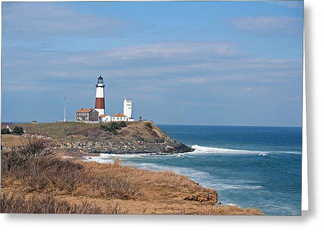 Greeting Card featuring the photograph Montauk Lighthouse/camp Hero by Karen Silvestri
