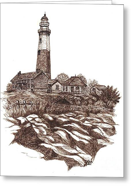 Montauk Lighthouse Long Island  N Y Greeting Card by Carol Wisniewski