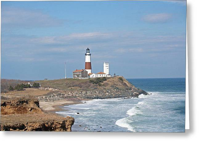 Montauk Lighthouse View From Camp Hero Greeting Card by Karen Silvestri