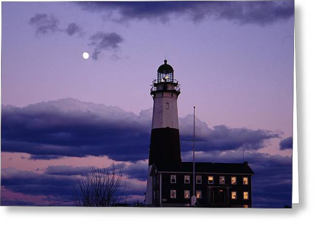 Montauk Lighthouse With Moon Greeting Card