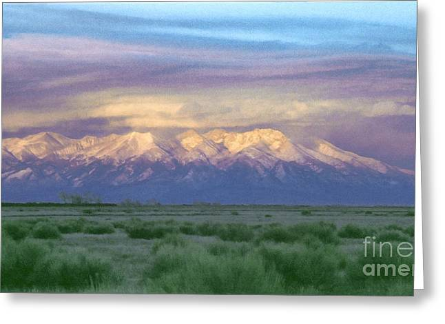 Greeting Card featuring the painting Monte Vista Sunrise 1 by Teri Atkins Brown