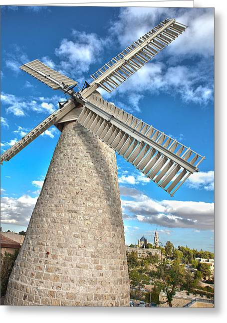 Montefiore Windmill Closeup Greeting Card by Adam  Ingalls