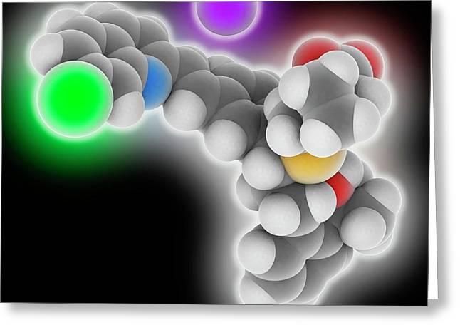 Montelukast Sodium Drug Molecule Greeting Card