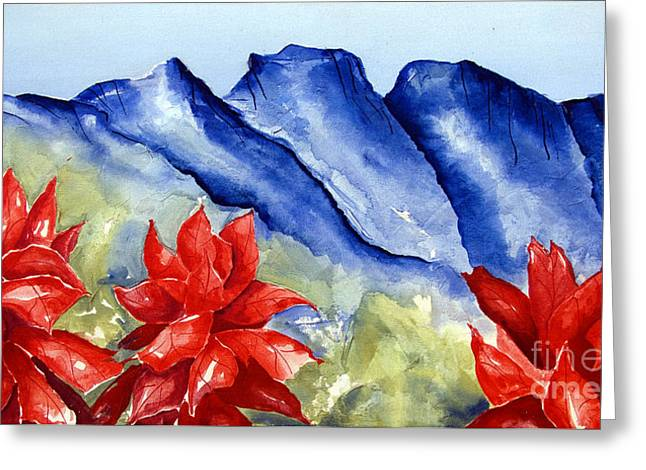 Monterrey Mountains With Red Floral Greeting Card
