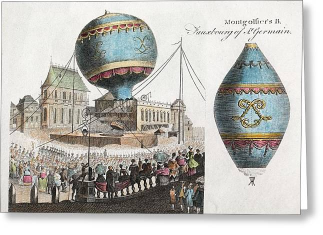 Montgolfier Balloon Flight Greeting Card by Paul D Stewart