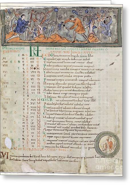 Month Of February, Anglo-saxon Calendar Greeting Card