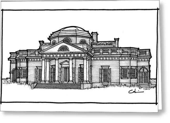 Greeting Card featuring the drawing Monticello by Calvin Durham