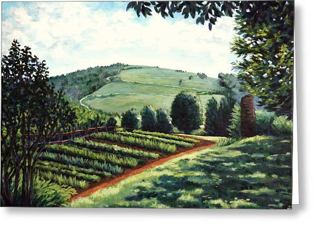Greeting Card featuring the painting Monticello Vegetable Garden by Penny Birch-Williams