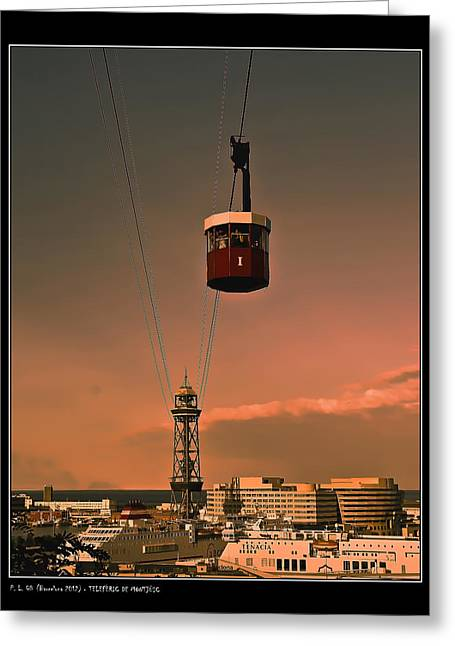 Montjuic Cable Car Greeting Card by Pedro L Gili