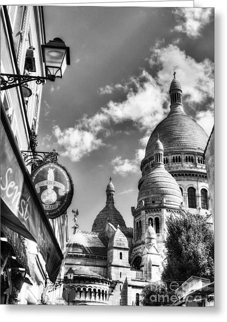 Montmartre In Paris 4 Bw Greeting Card