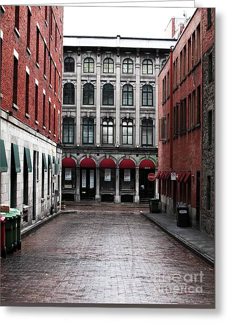 Montreal Alley Greeting Card by John Rizzuto