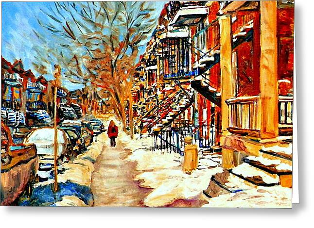 Montreal Art Winterwalk In Montreal Street Scene Painting Greeting Card by Carole Spandau