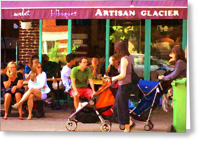 Montreal Art Work Bilboquet Cafe Scene Moms And Baby Carriages  In  Outremont By Carole Spandau Greeting Card by Carole Spandau