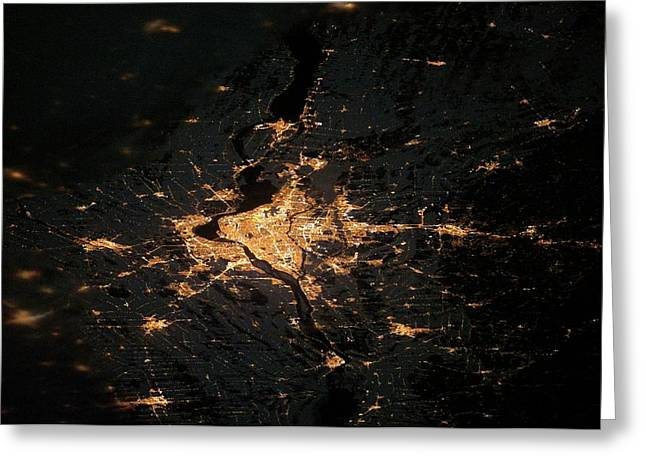 Montreal At Night From Space Greeting Card