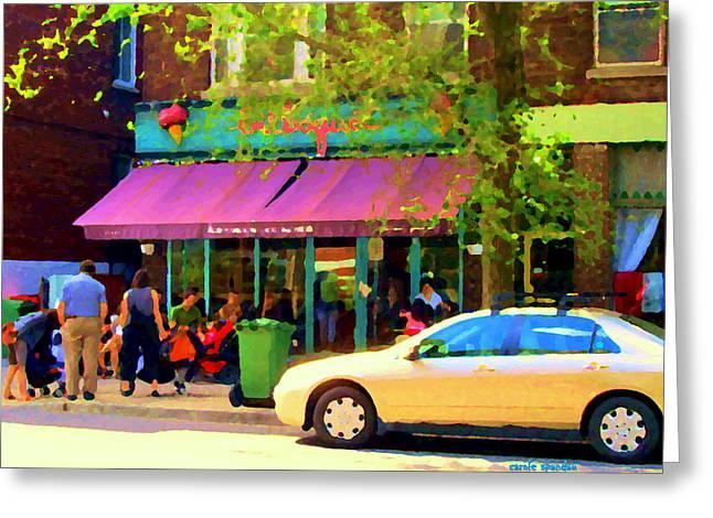 Montreal Cafe Scenes Beautiful Bilboquet On Bernard Creme Glacee Summer City Scene Carole Spandau  Greeting Card by Carole Spandau