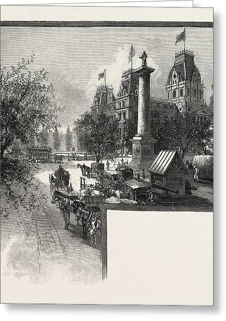 Montreal, City Hall And Nelsons Monument Greeting Card by Canadian School