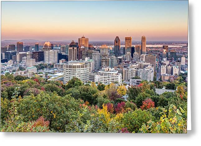 Montreal City In Autumn Greeting Card