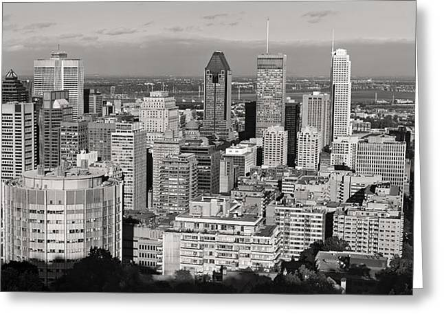 Montreal City Skyline In Black And White Greeting Card