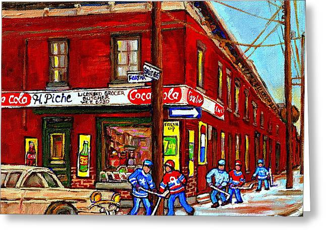Montreal Depanneur Epicerie Boucherie Coca Cola South West Montreal Winter Pantings Hockey Art  Greeting Card by Carole Spandau