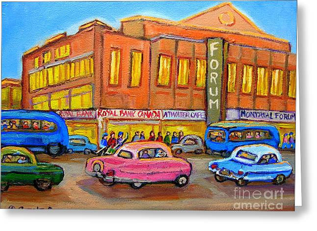 Montreal Forum Vintage Scene Greeting Card by Carole Spandau