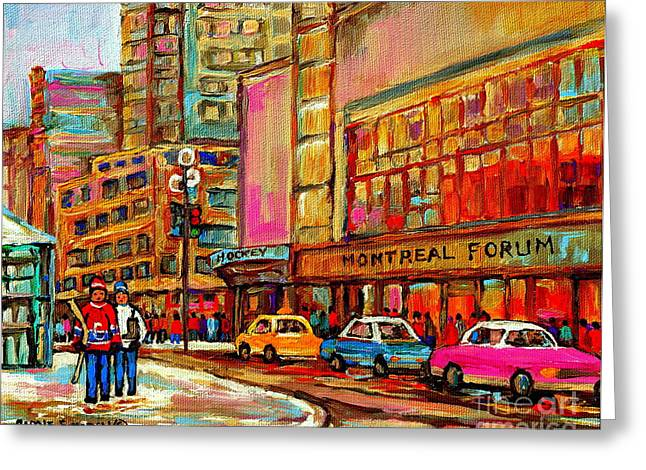 Montreal Forum  Winter Scene Paintings Snowy Day Downtown Strolling Atwater C Spandau  Greeting Card