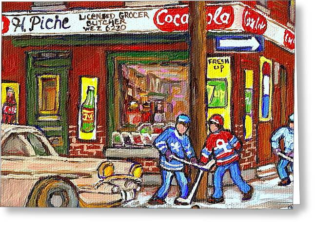 Montreal Hockey Paintings At The Corner Depanneur - Piche's Grocery Goosevillage Psc Griffintown  Greeting Card by Carole Spandau