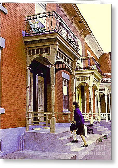 Montreal Memories Pretty Plateau Porches Lady Climbs Front Steps By Bricks Balconies Home Cspandau   Greeting Card by Carole Spandau