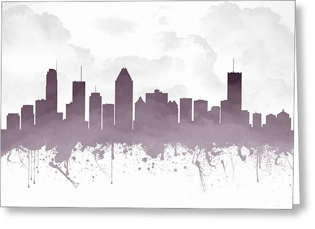 Montreal Quebec Skyline - Purple 03 Greeting Card by Aged Pixel