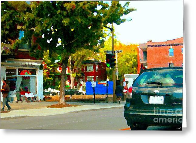Montreal Scenes Little Chocolate And Fudge Shop Briimstone Corner Of Clifton And Sherbrooke Cspandau Greeting Card by Carole Spandau