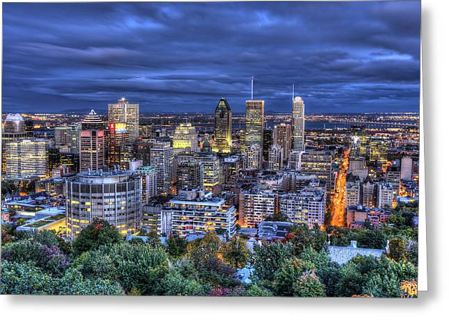 Greeting Card featuring the photograph Montreal Skyline At Dusk by Shawn Everhart