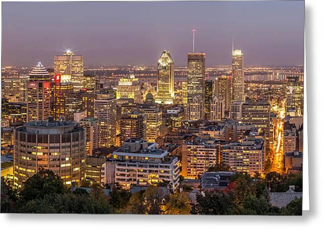 Montreal Skyline At Night Greeting Card