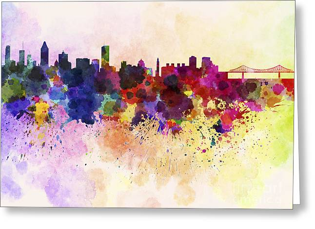 Montreal Skyline In Watercolor Background Greeting Card by Pablo Romero
