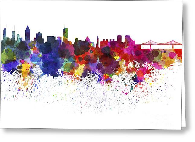 Montreal Skyline In Watercolor On White Background Greeting Card