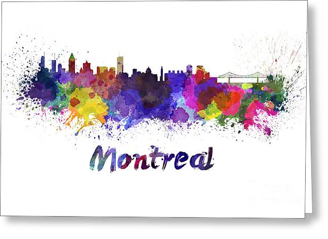 Montreal Skyline In Watercolor Greeting Card