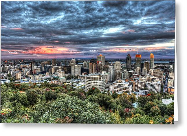 Montreal Skyline Sunset From Mount Royal Greeting Card