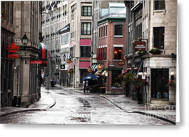 Montreal Street Scene Greeting Card by John Rizzuto