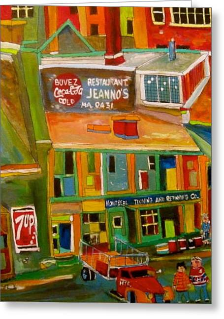 Montreal Tinning Montreal Memories Greeting Card by Michael Litvack