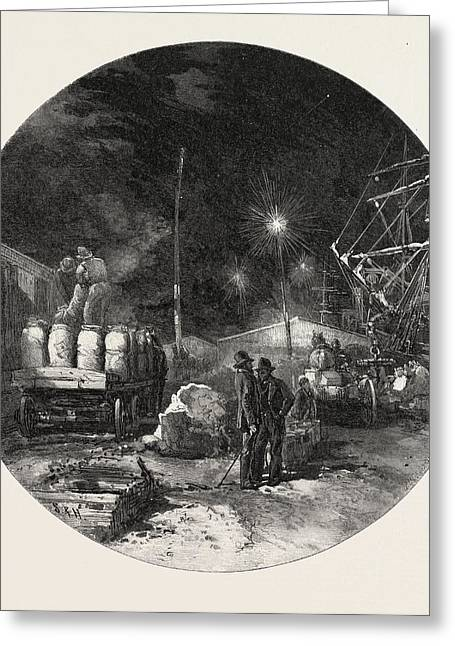 Montreal, Transferring Freight By Electric Light Greeting Card by Canadian School